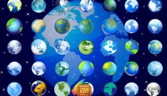 icone globo terrestre – earth globe icons set