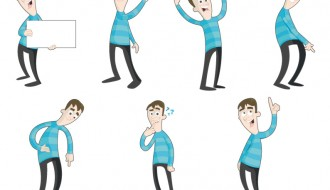 uomo in 7 pose – characters in different poses