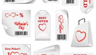 Targhette San Valentino – Valentine Sticker Bar Codes Hearts