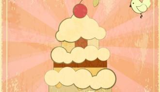 happy birthday vintage card – torta compleanno