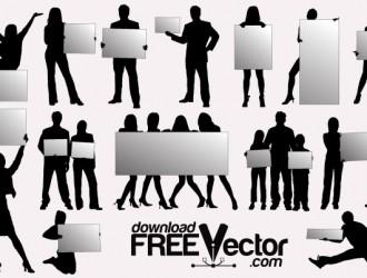sagome persone con tabellone – silhouettes with billboards