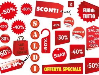 saldi, sconti – red sale labels