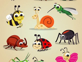 12 insetti – cartoon bugs icon set