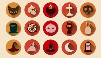 25 icone Halloween – terror Halloween round icons