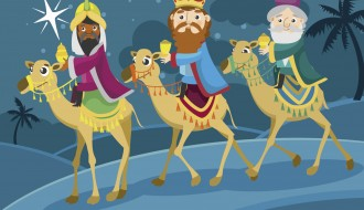 Re Magi – Three wise men journey camels