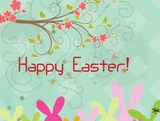 Pasqua conigli ramo fiori – Happy Easter rabbits