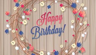 biglietto auguri floreale – happy birthday