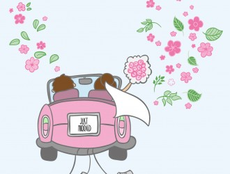 sposi – just married cartoon