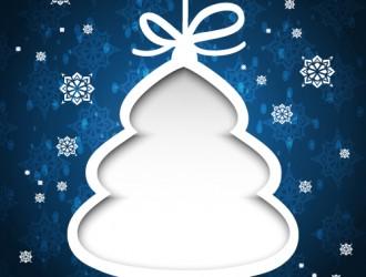 bigliettino blu albero Natale – blue Christmas card with tree