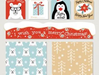 etichette, pattern, Natale – holidays labels, seamless patterns