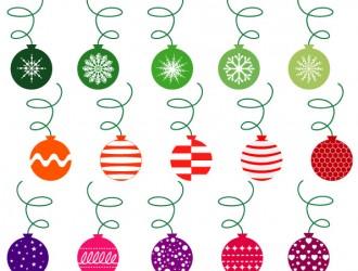 palline Natale verdi, rosse, viola – green, red, purple Christmas balls
