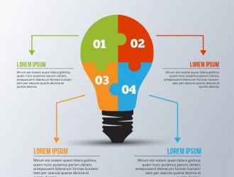 infografica con lampadina puzzle – light bulb puzzle infographic