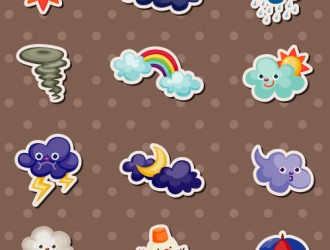 12 icone meteo cartoon – cute weather icons