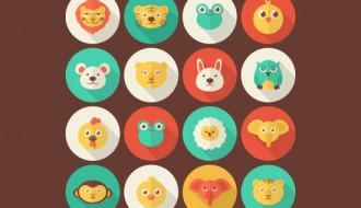16 icone animali – flat animal portrait icons