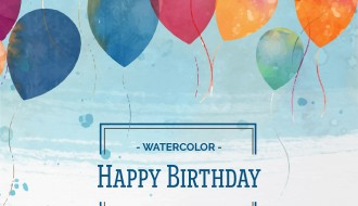 palloncini acquerello compleanno – watercolor happy birthday