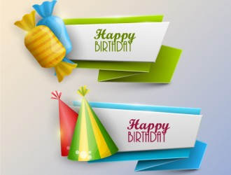 2 banner compleanno – happy birthday banner, candy, hat