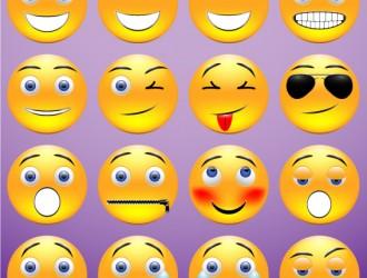 16 faccine – yellow round emoticons icons