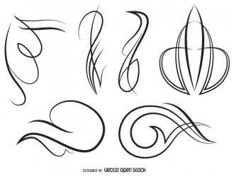 6 linee decorative – ornament line art set