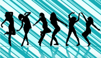 sagome ballerine – dancing girls silhouettes with striped background