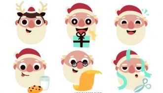 6 Babbo Natale – Christmas Santa Claus faces