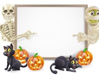 Halloween scheletro, mummia, gatti, zucche – skeleton, mummy, cats, pumpkins banner