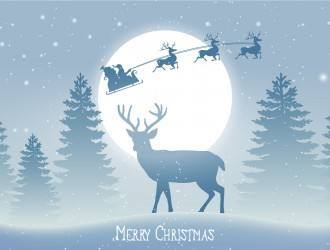 renna, slitta, alberi, neve, Natale – beautiful Christmas scene