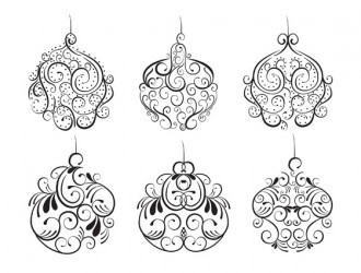 6 decorazioni Natale – Christmas ornament swirl set