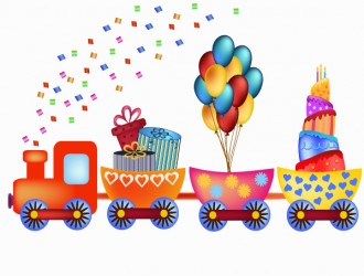 trenino compleanno torta palloncini – birthday cartoon train