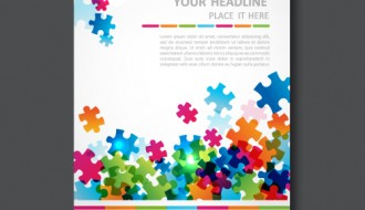 business brochure with puzzle