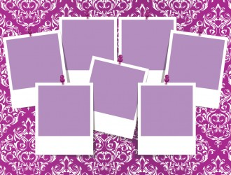 cornici foto su sfondo damascato – photo frame damask pattern