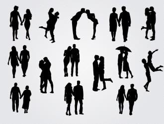 14 coppie innamorati – couples in love silhouettes