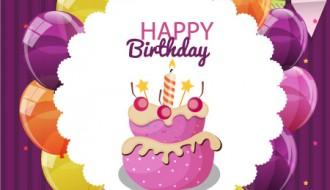 torta compleanno, palloncini, festoni – cute cake birthday card
