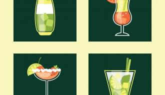 4 bicchieri cocktail
