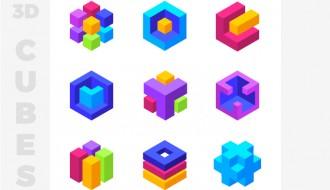 9 icone cubi geometrici – colorful 3d geometric cubes