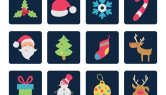 12 icone Natale sfondo nero- Christmas icons