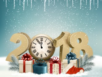 sfondo Natale 2018 – holiday Christmas background with clock and 2018