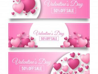 3 banner San Valentino – Valentines day pink banner