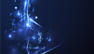 sfondo note musicali – neon line music background