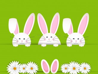 3 conigli con margherite – rabbits with daisies