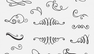 21 decorazioni vintage disegnate a mano – vintage set of handdrawn decorations