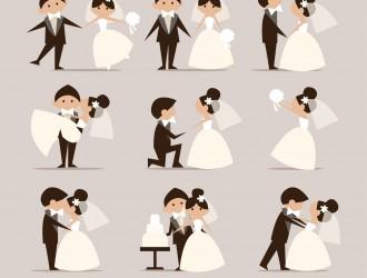 9 coppie sposi – silhouettes wedding couples