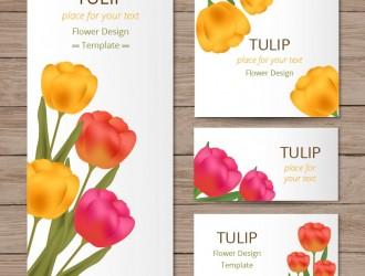 biglietti con tulipani sfondo legno – floral cards with tulips on wood texture